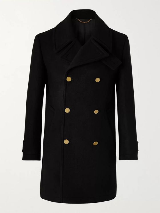 Dunhill Double-Breasted Wool and Cashmere-Blend Peacoat