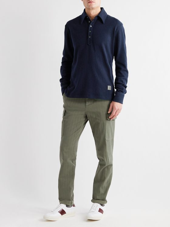 Tod's Logo-Appliquéd Wool-Blend Polo Shirt