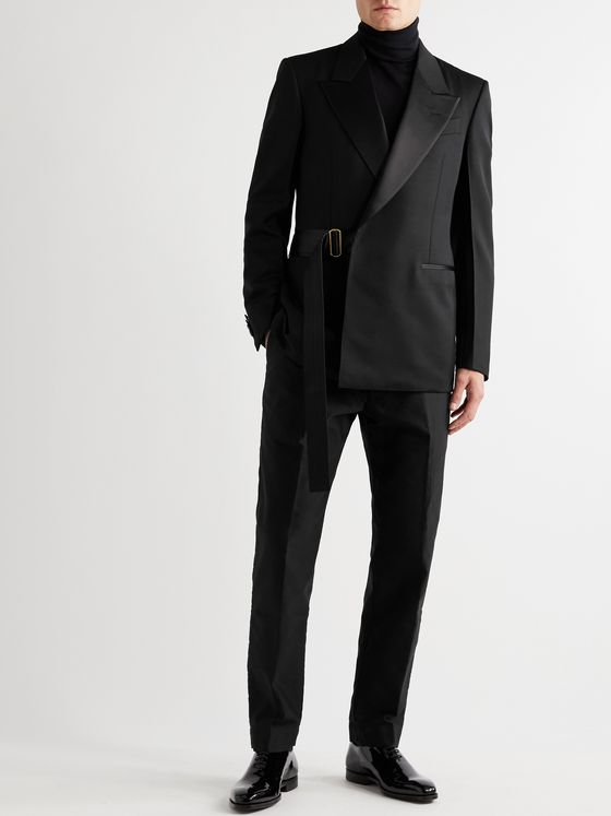 DUNHILL Satin-Trimmed Wool Tuxedo Jacket