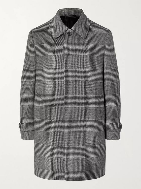 DUNHILL Prince of Wales Checked Wool and Cashmere-Blend Coat