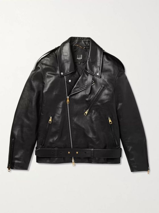 DUNHILL Duke Oversized Belted Leather Biker Jacket