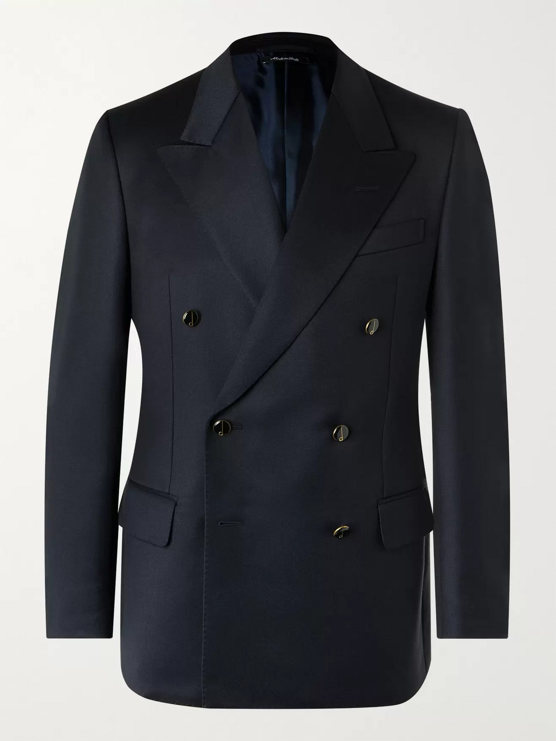 Dunhill Slim-fit Double-breasted Wool Blazer In Blue