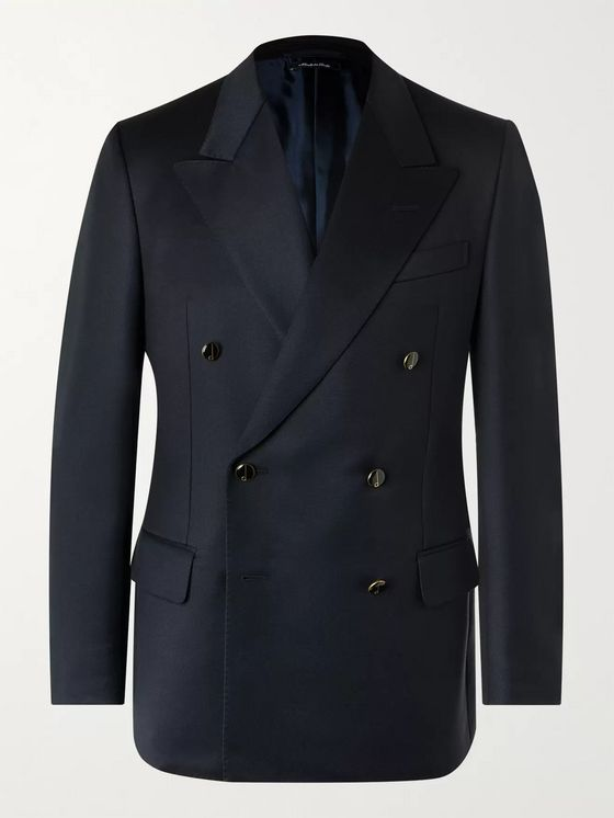 Dunhill Slim-Fit Double-Breasted Wool Blazer