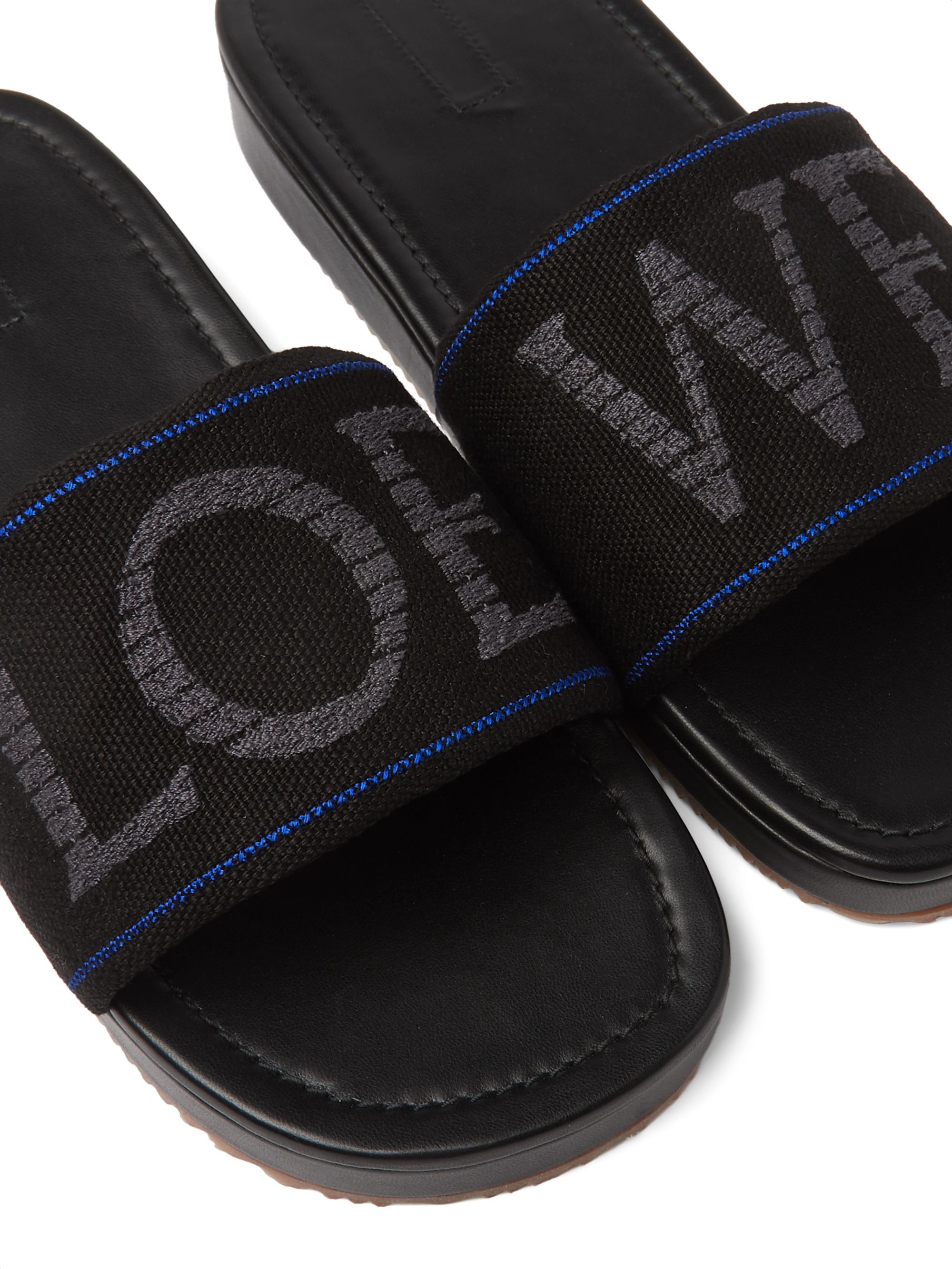 Loewe + Paula's Ibiza Logo-Embroidered Canvas Slides