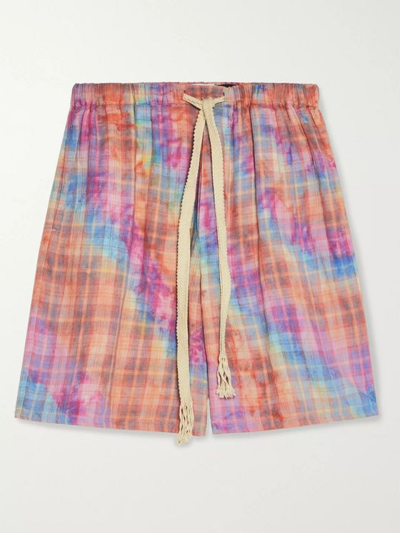 LOEWE + Paula's Ibiza Tie-Dyed Checked Cotton Drawstring Shorts