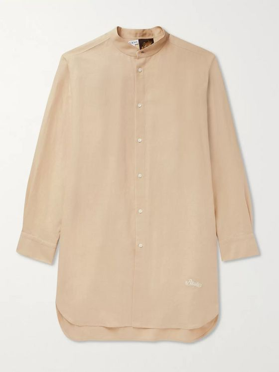 Loewe + Paula's Ibiza Grandad-Collar Logo-Embroidered Linen and Cotton-Blend Shirt