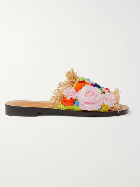 LOEWE + Paula's Ibiza Embellished Frayed Raffia and Leather Slides
