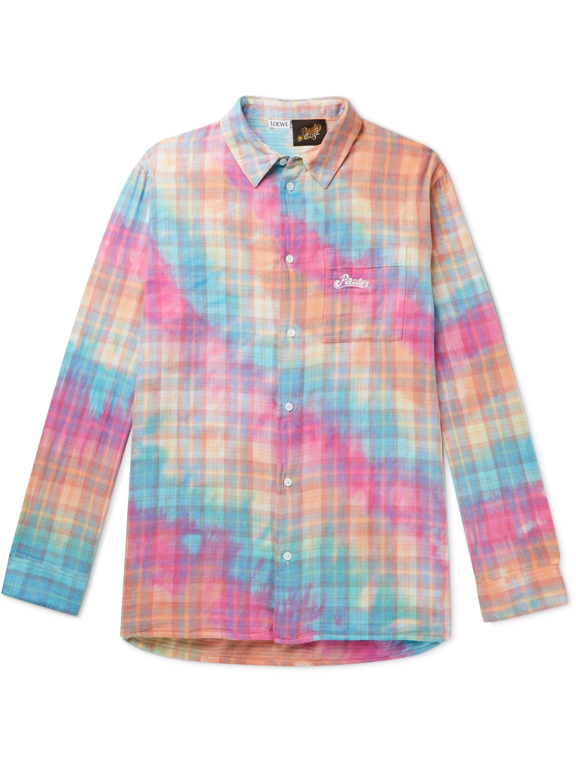 Multi + Paula's Ibiza Tie-dyed Checked Cotton Overshirt | Loewe