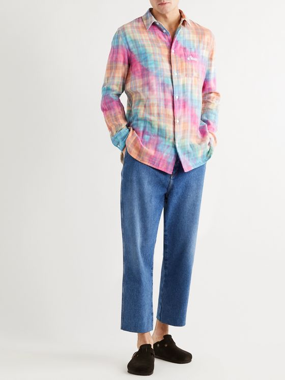 Loewe + Paula's Ibiza Tie-Dyed Checked Cotton Overshirt