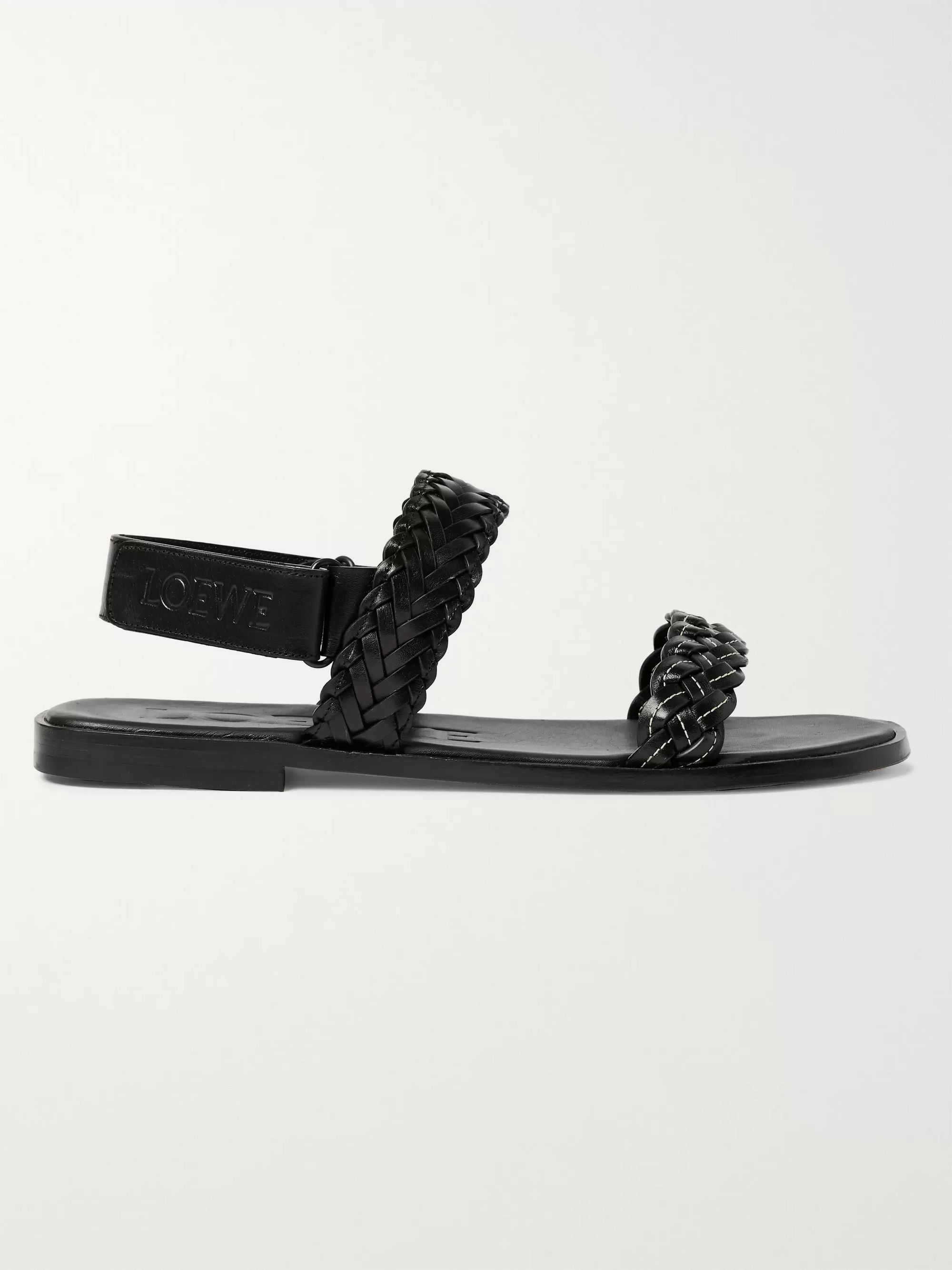 Loewe + Paula's Ibiza Braided Leather Sandals
