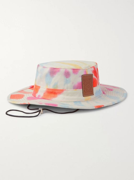 Loewe + Paula's Ibiza Logo-Detailed Tie-Dyed Canvas Bucket Hat
