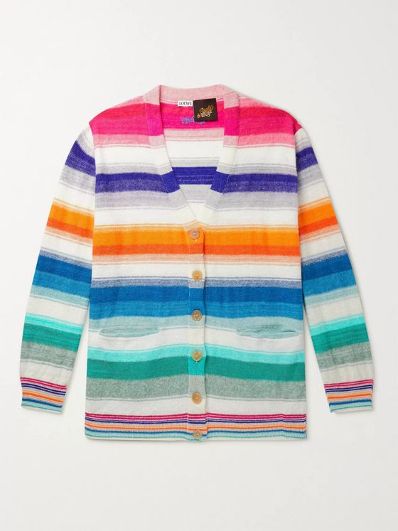 Loewe + Paula's Ibiza Striped Cotton Cardigan