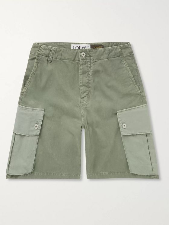 LOEWE + Paula's Ibiza Colour-Block Wide-Leg Cotton Cargo Shorts