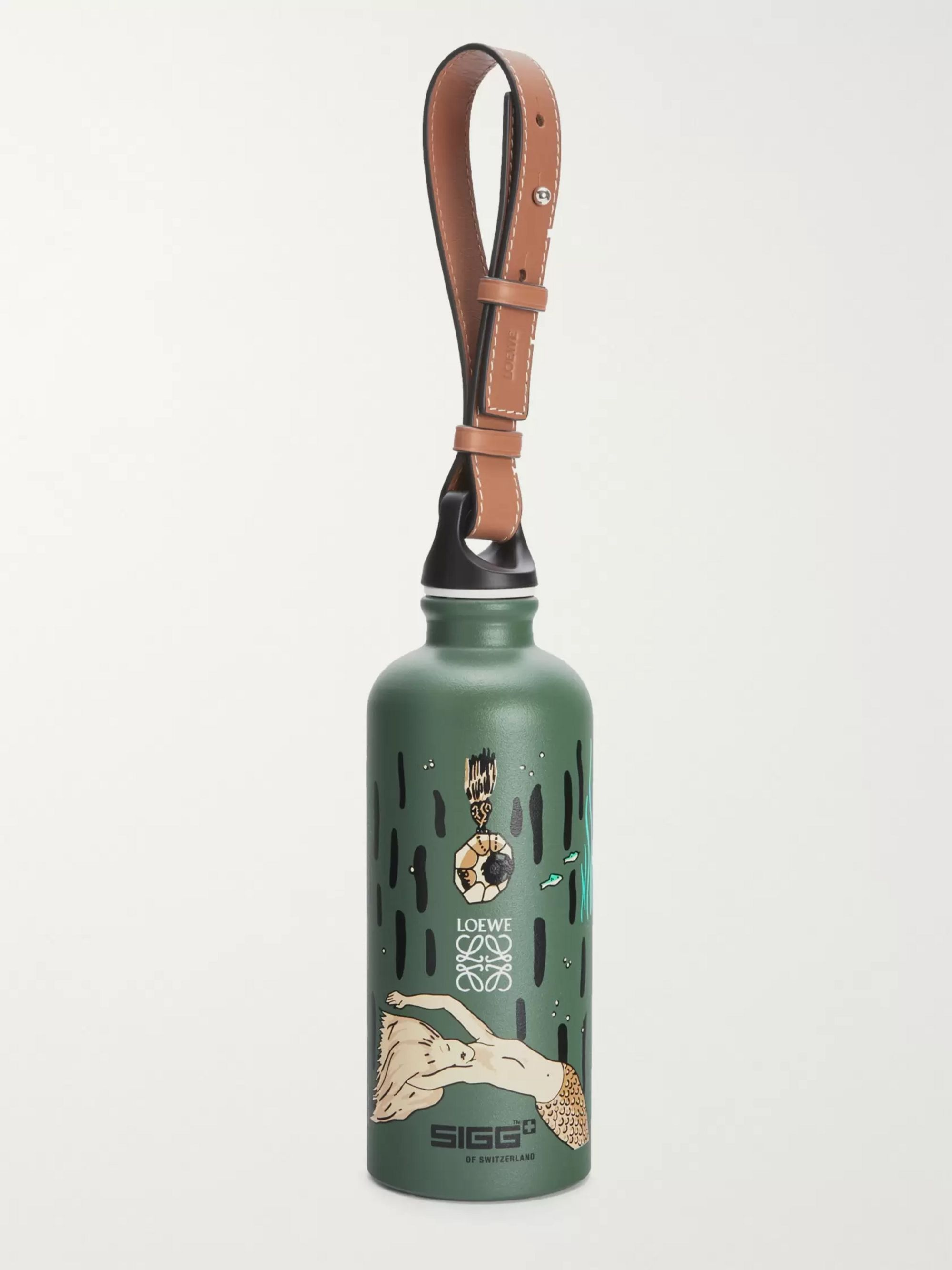 Loewe + Paula's Ibiza + SIGG Printed Aluminium Water Bottle with Leather Strap