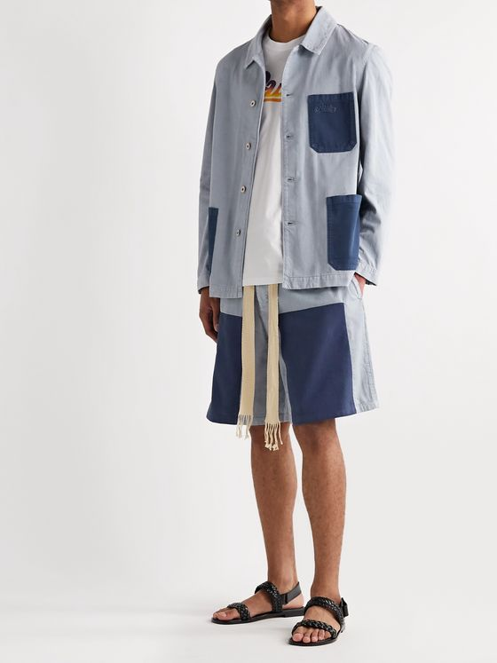 Loewe + Paula's Ibiza Distressed Colour-Block Cotton-Chambray Shirt Jacket