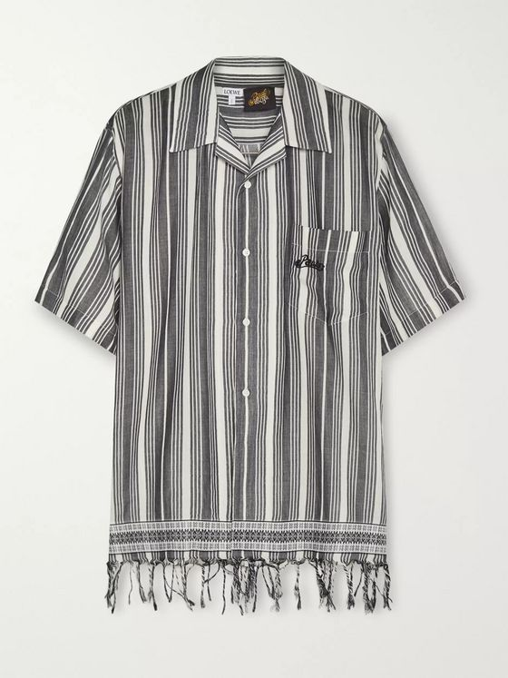Loewe + Paula's Ibiza Fringed Logo-Embroidered Striped Cotton Shirt