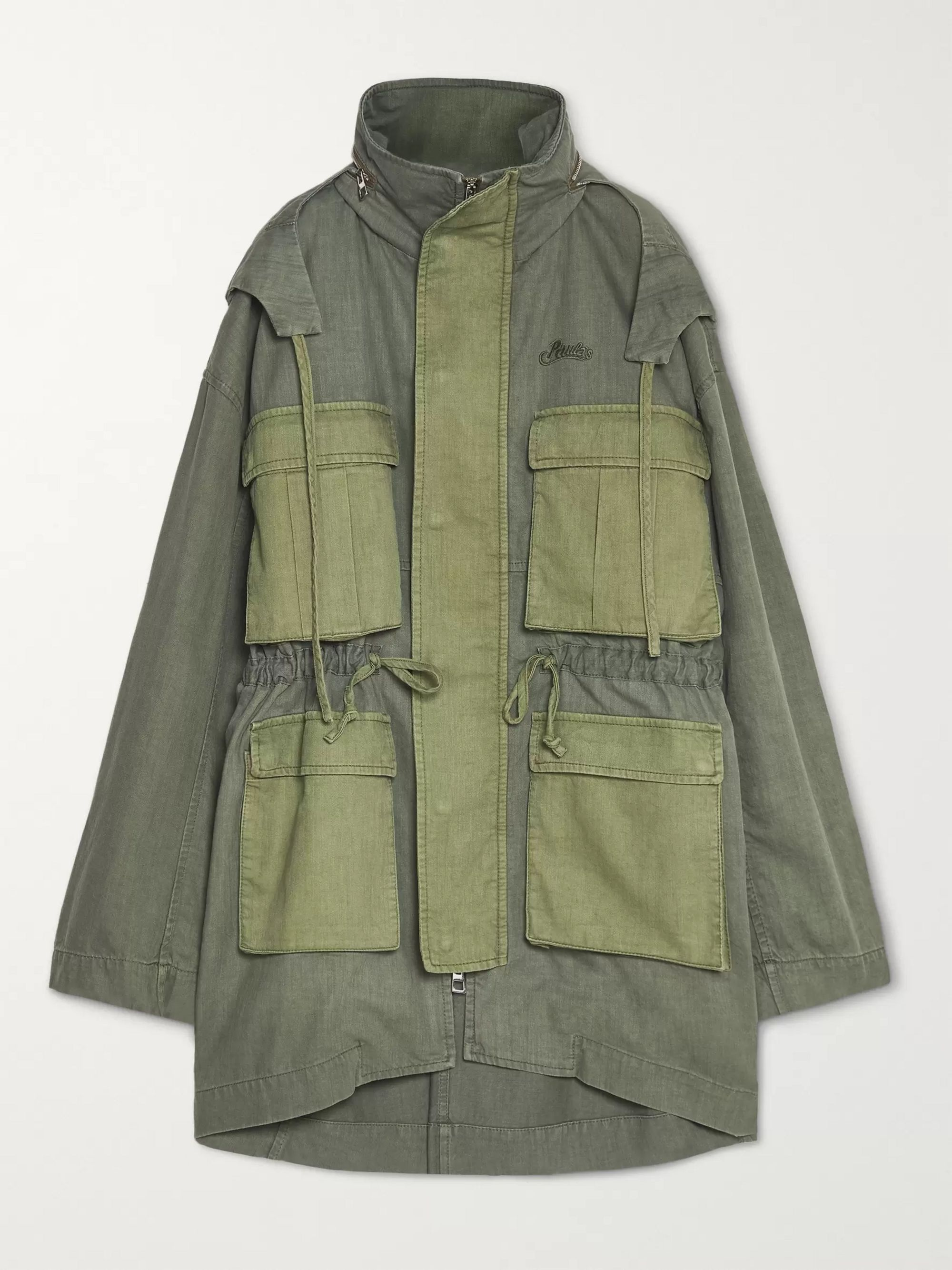 Army Green + Paula's Ibiza Colour-block Stonewashed Cotton Hooded Parka | Loewe