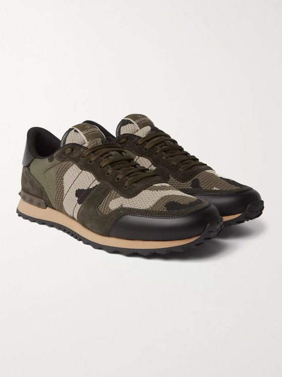 Valentino Valentino Garavani Rockrunner Camouflage-Print Mesh, Leather and Suede Sneakers