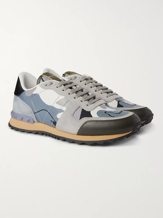 Valentino Valentino Garavani Rock Runner Suede, Leather and Canvas Sneakers