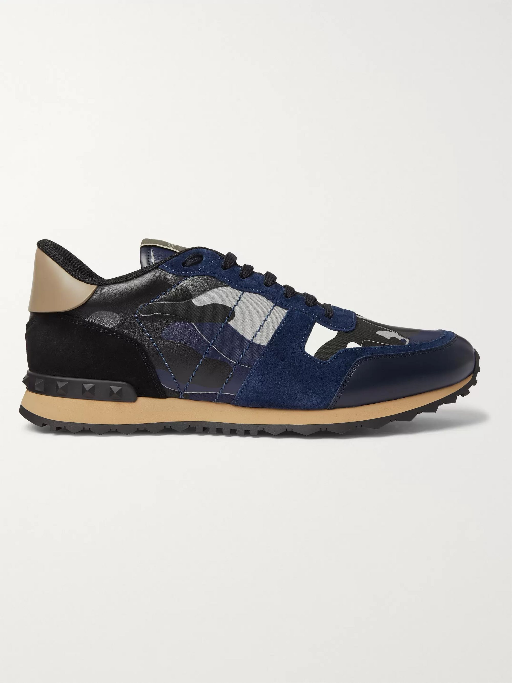 Valentino Valentino Garavani Rockrunner Camouflage Suede and Leather-Trimmed Canvas Sneakers