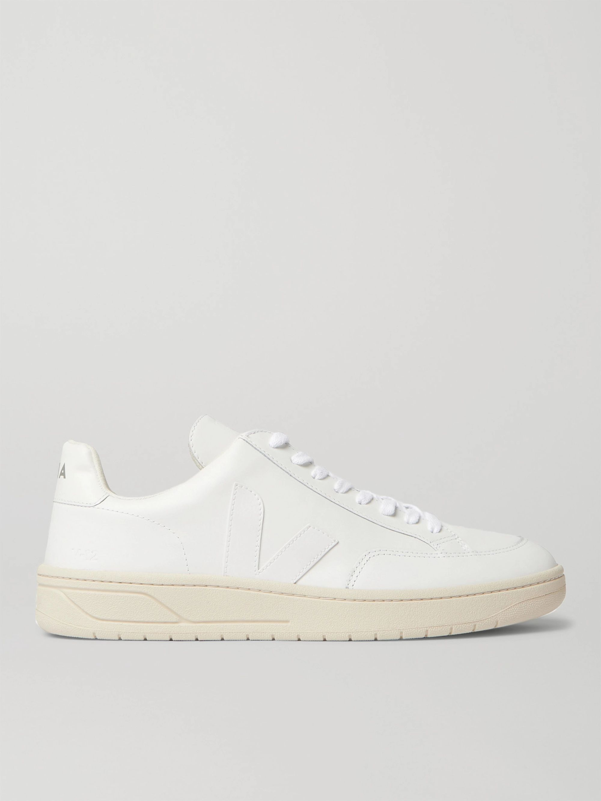 White V-12 Suede-Trimmed Leather