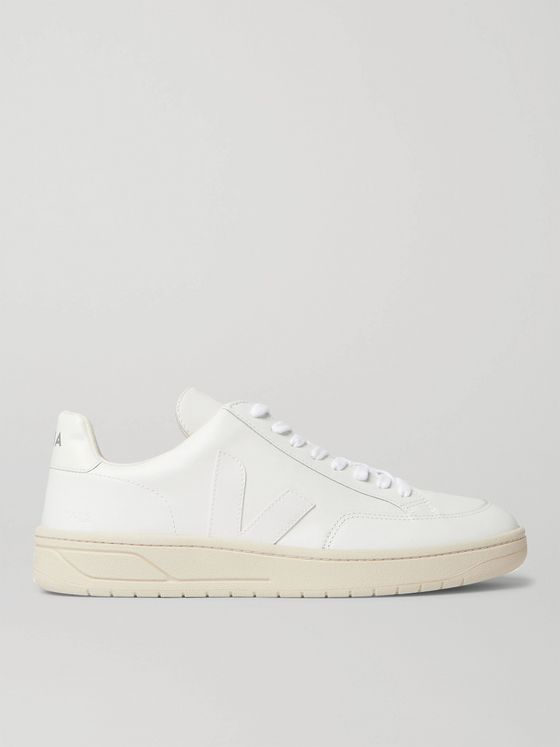 Veja V-12 Suede-Trimmed Leather Sneakers