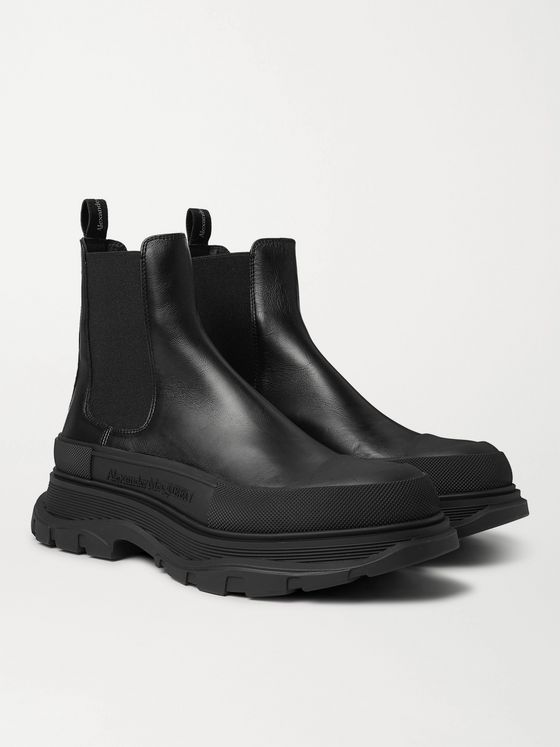 ALEXANDER MCQUEEN Rubber-Trimmed Leather Chelsea Boots