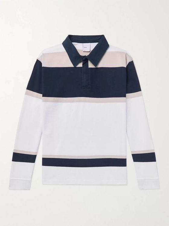 Adsum Striped Cotton-Jersey Half-Zip Rugby Shirt