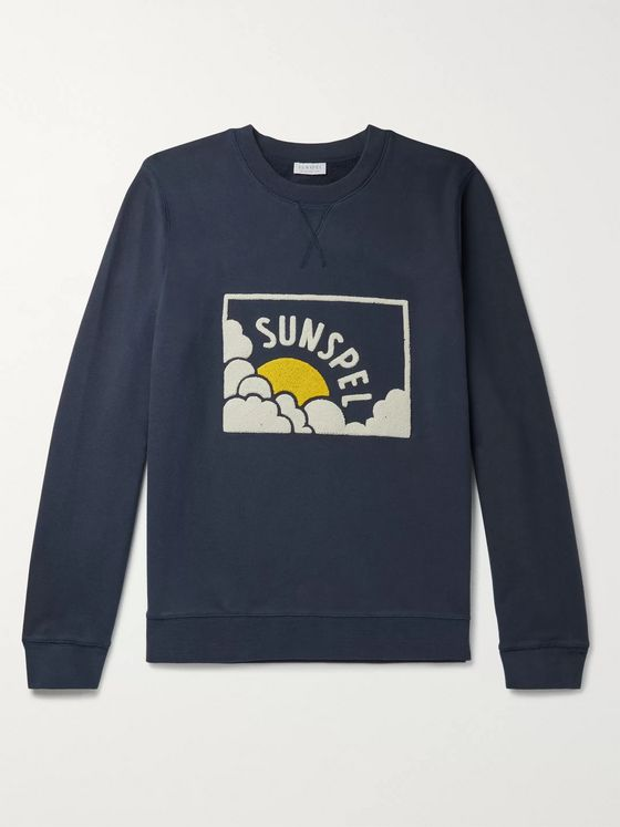 Sunspel Logo-Flocked Loopback Cotton-Jersey Sweatshirt