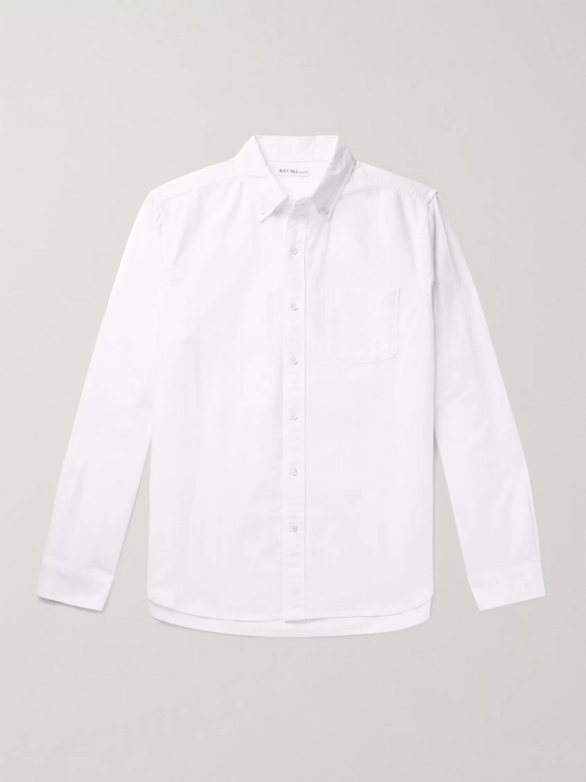 Alex Mill Button-down Collar Overdyed Cotton Oxford Shirt In White