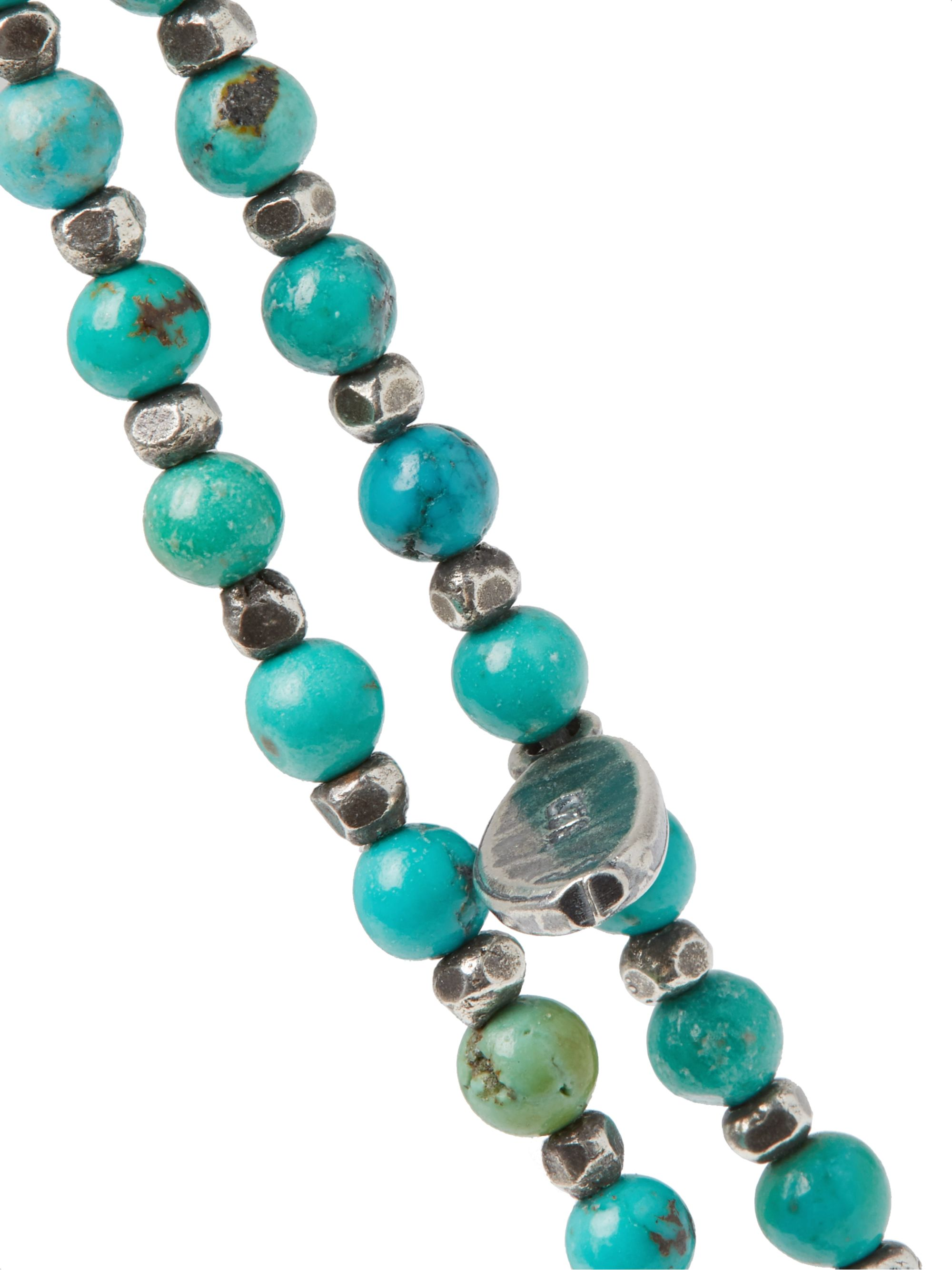 Turquoise Sterling Silver And Beaded Wrap Bracelet | M.cohen
