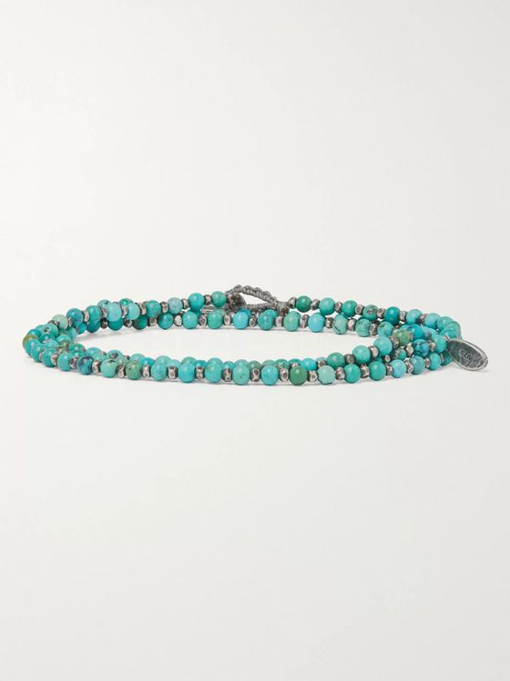 M.COHEN Sterling Silver and Turquoise Beaded Wrap Bracelet