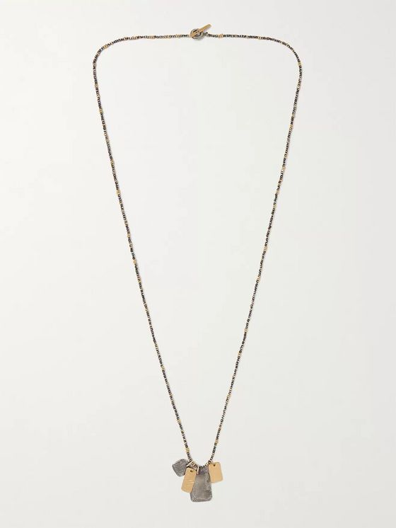 M.COHEN 18-Karat Gold and Sterling Silver Beaded Necklace