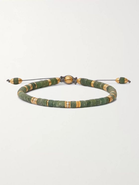 M.COHEN 18-Karat Gold and Jade Beaded Bracelet