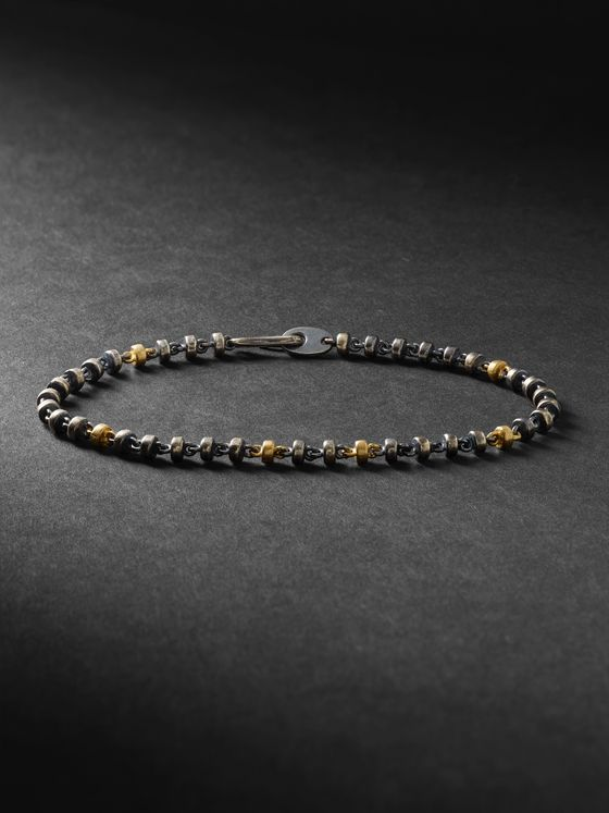 M.COHEN Oxidised Sterling Silver and 18-Karat Gold Bracelet