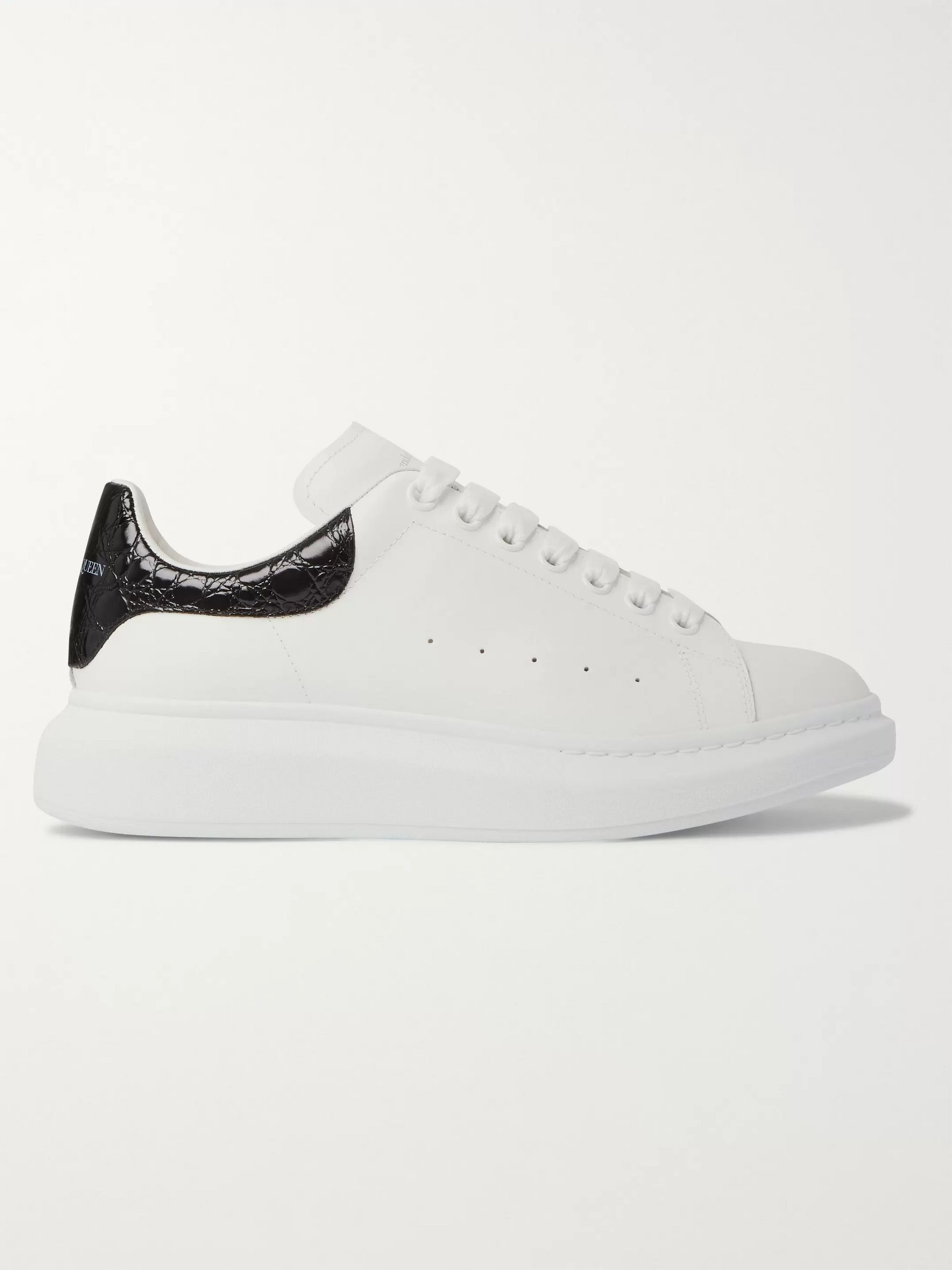 White Exaggerated-sole Croc Effect-trimmed Leather Sneakers   Alexander Mcqueen