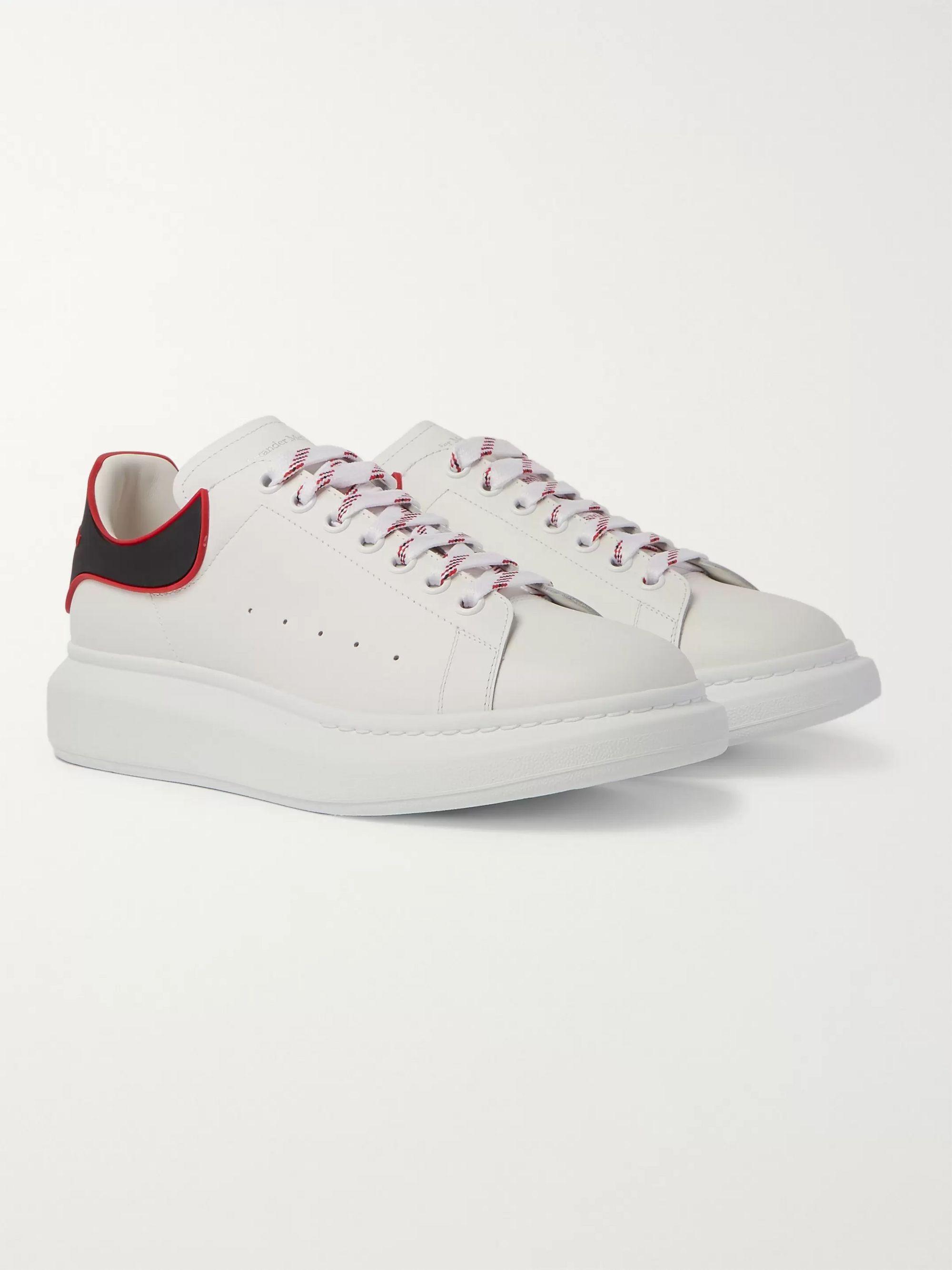 알렉산더 맥퀸 Alexander McQueen Exaggerated-Sole Rubber-Trimmed Leather Sneakers,White