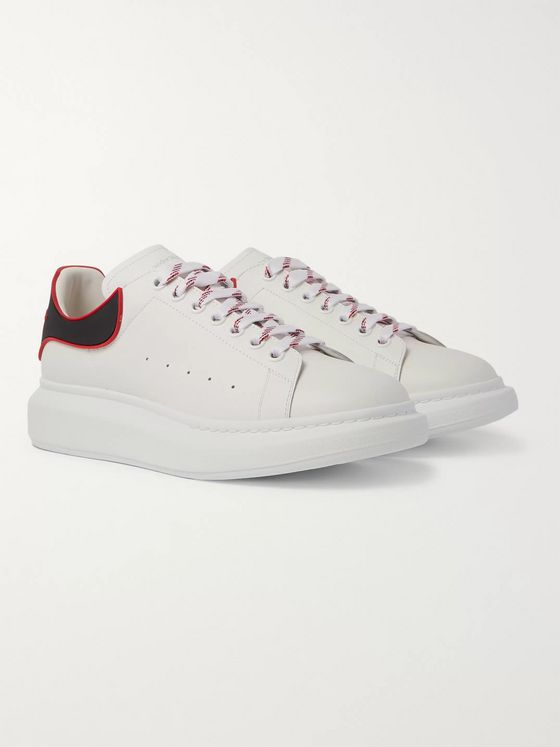 ALEXANDER MCQUEEN Exaggerated-Sole Rubber-Trimmed Leather Sneakers