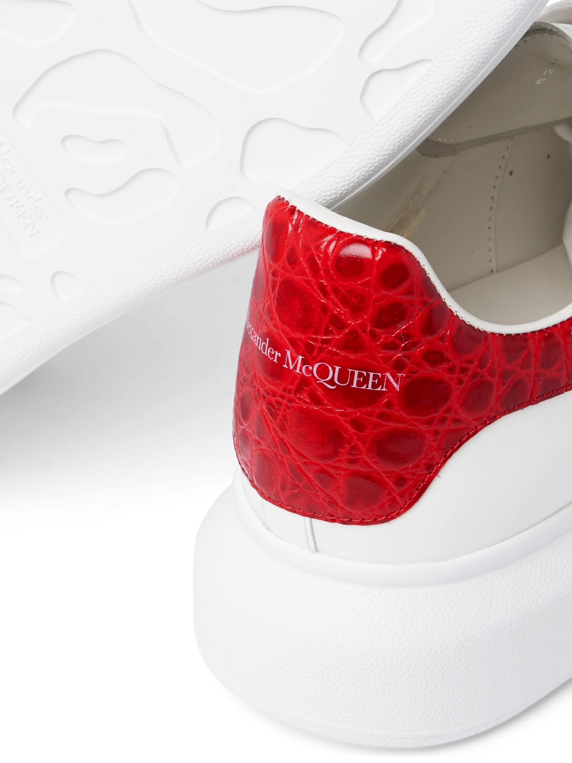 Alexander McQueen Exaggerated-Sole Croc Effect-Trimmed Leather Sneakers