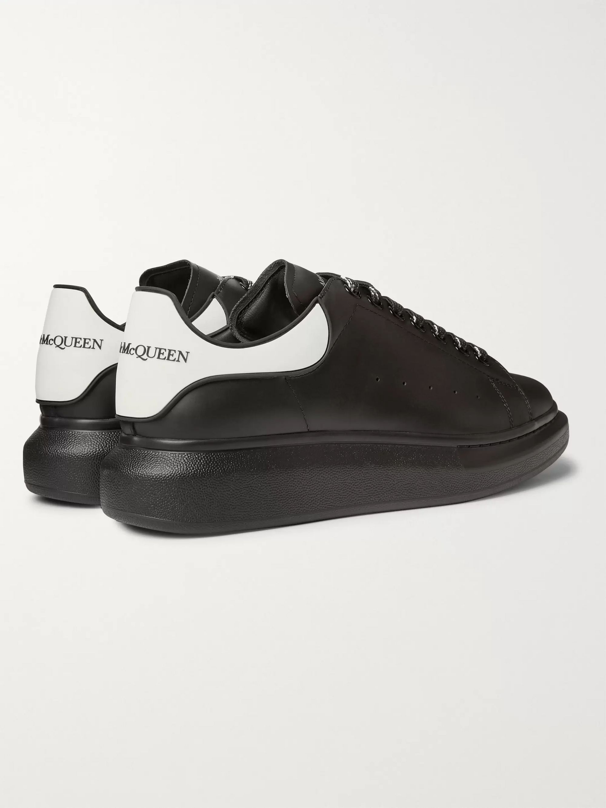 Black Exaggerated-sole Rubber-trimmed Leather Sneakers | Alexander Mcqueen