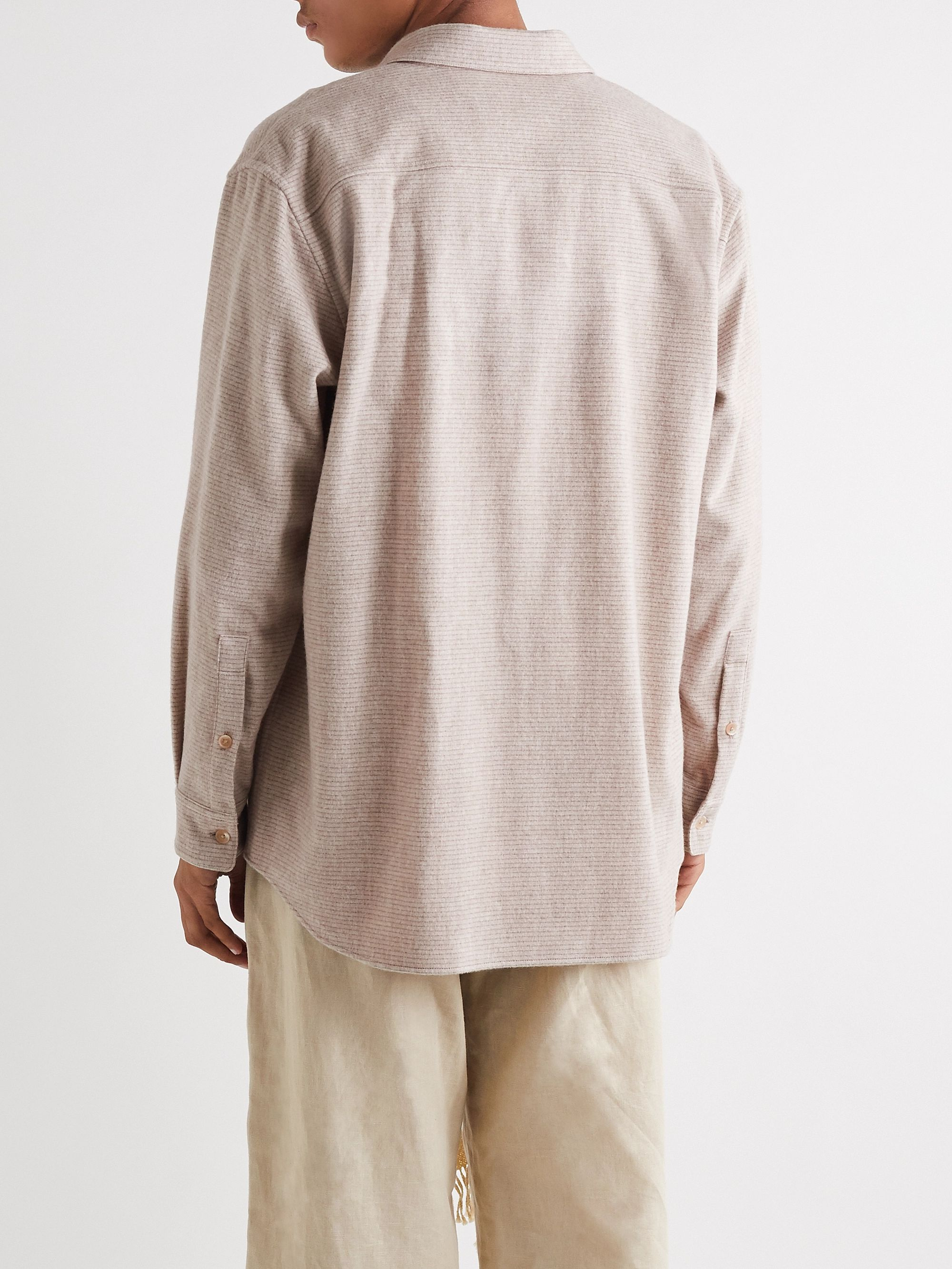 Beige Striped Wool And Cashmere-blend Overshirt   Auralee