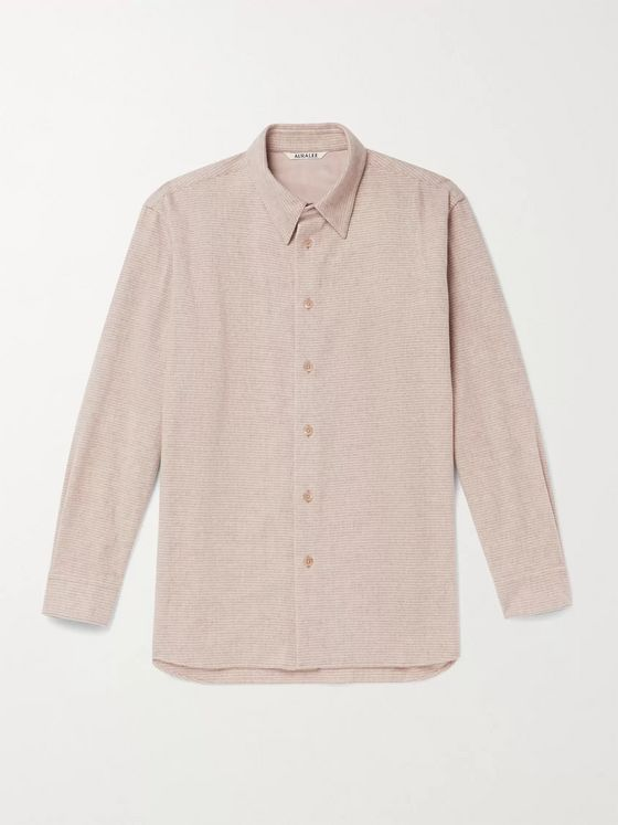 Auralee Striped Wool and Cashmere-Blend Overshirt