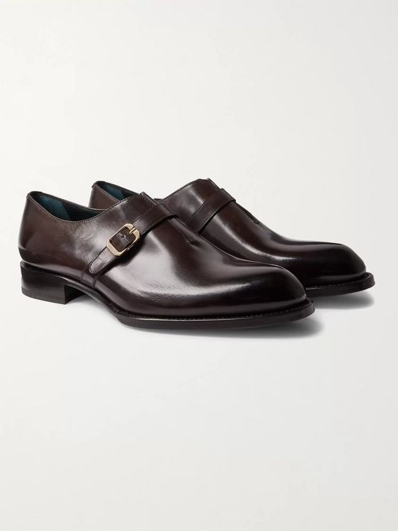 BRIONI Benedict Burnished-Leather Monk-Strap Shoes