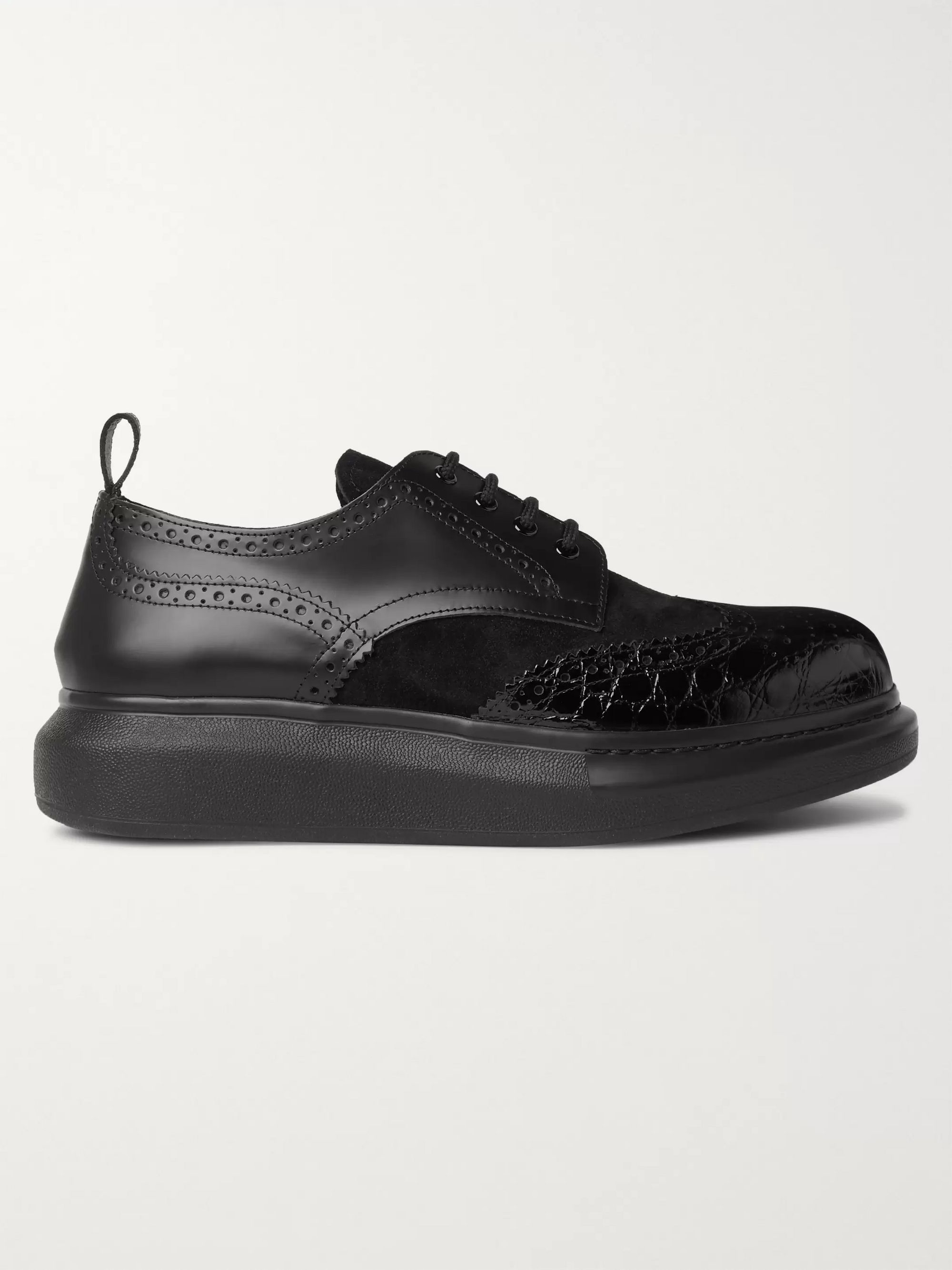 Alexander McQueen Exaggerated-Sole Suede and Croc-Effect Leather Brogues