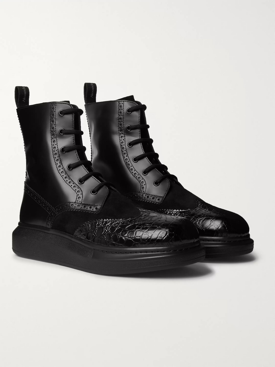 alexander mcqueen - exaggerated-sole suede and patent croc-effect leather boots - men - black