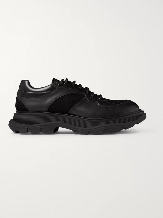 Alexander McQueen Tread Slick Suede-Trimmed Leather Sneakers
