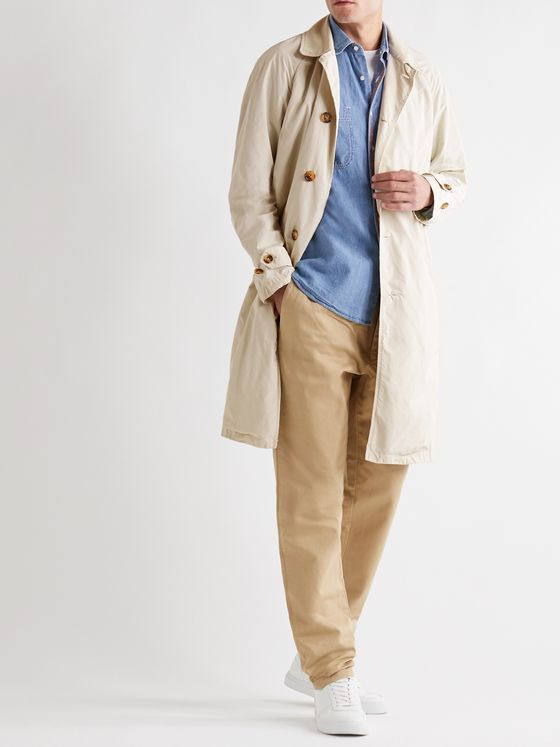ASPESI Faux Suede-Trimmed Garment-Dyed Shell Coat