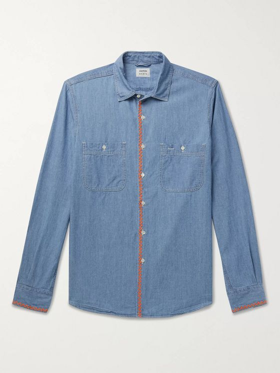 Aspesi Embroidered Cotton-Chambray Shirt