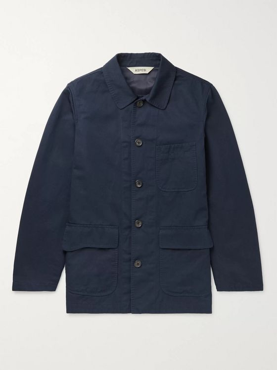 ASPESI Cotton and Linen-Blend Twill Chore Jacket
