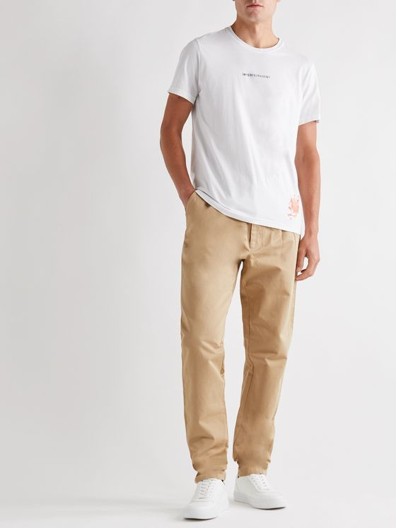 ASPESI Tapered Cotton and Linen-Blend Twill Trousers